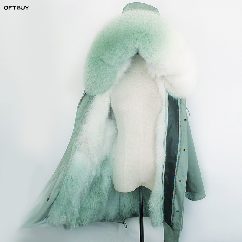 OFTBUY 2019 long parka winter jacket women real natural fur coat fox fur collar liner rainbow Gradient outwear korean fashion