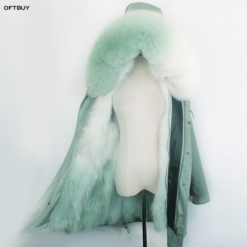 OFTBUY 2019 parka larga de invierno las mujeres chaqueta real natural abrigo de piel cuello de piel de zorro de arco iris gradiente prendas de moda coreana