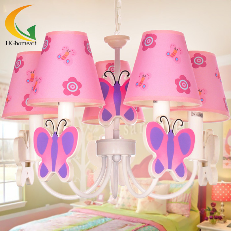 Children S Cartoon Princess Girl Kids Room Lighting Chandelier Mediterranean Pink Butterfly Child Led China