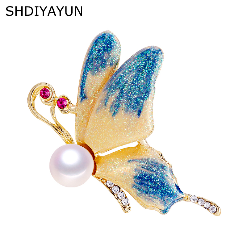 SHDIYAYUN New Pearl Brooch Natural Freshwater Pearl Frosted Butterfly Brooch Simple Pins For Women Jewelry Women Dropshipping