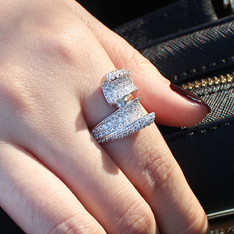 Fashion white gold wedding rings for women silver 925 Imitation ...