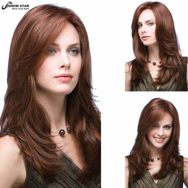 Sexy Lady Auburn Hair Highlights Hairstyles Wig U Part Long Layered