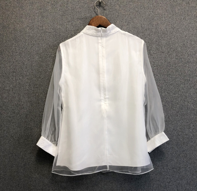 Chic women's Chinese style Organza blouses top 2019 Spring summer embroidered Shirts A278 - 4