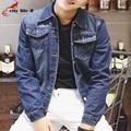 Retro Personality Denim Jacket Men's Wear Solid Color Blue Cowboy Jeans Coat 2016 Spring Autumn Male Outerwear Plus Size S-4XL