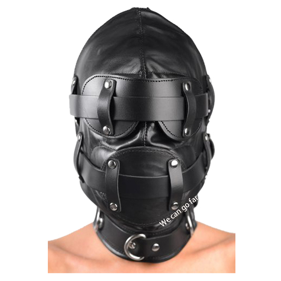Leather Bondage Head Hood, BDSM Mask with Removable Muzzle Blindfold,Strap On Dildo Gag,Sex Slave Role Play Accessories