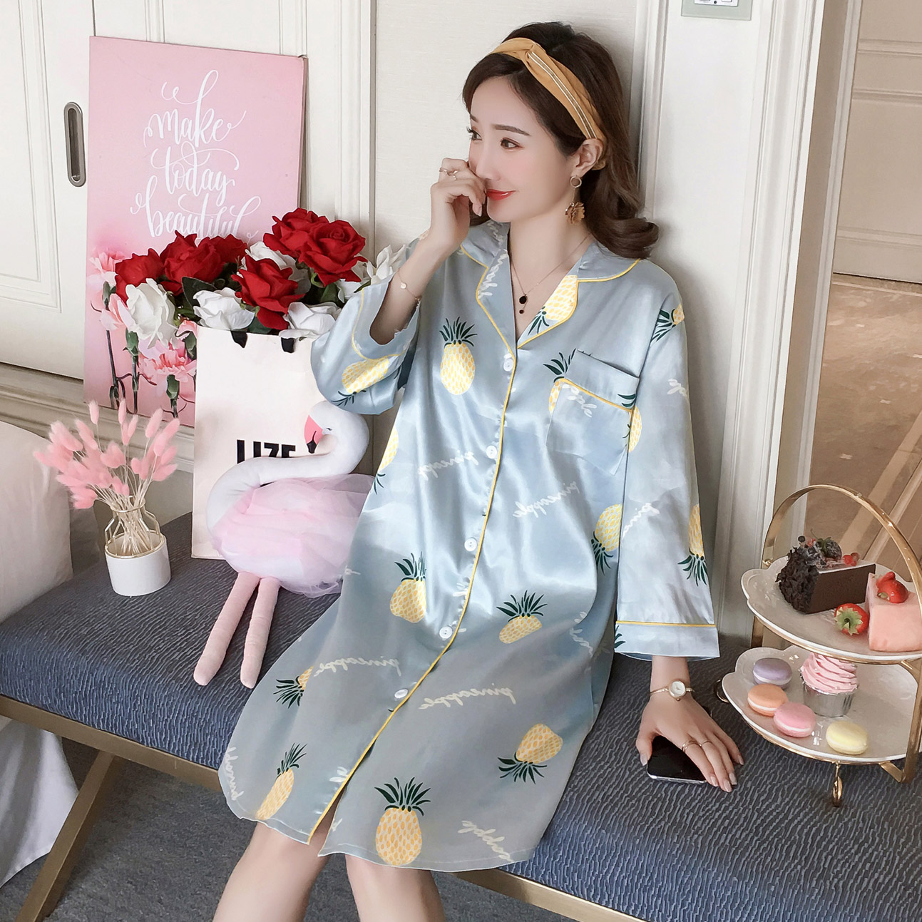 WAVMIT 2019 Summer Autumn Silk Womens Sleepwear Sexy Sleepshirt Long Print Ladies Nightgown Young Girl Outwear Nightdress Party