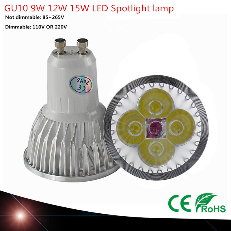 <font><b>LED</b></font> Spotlight GU10 High power <font><b>led</b></font> bulb 9W 12W 15W Warm White /Cool white 85-265V Ultra Bright <font><b>GU</b></font> <font><b>10</b></font> <font><b>LED</b></font> LAMP image