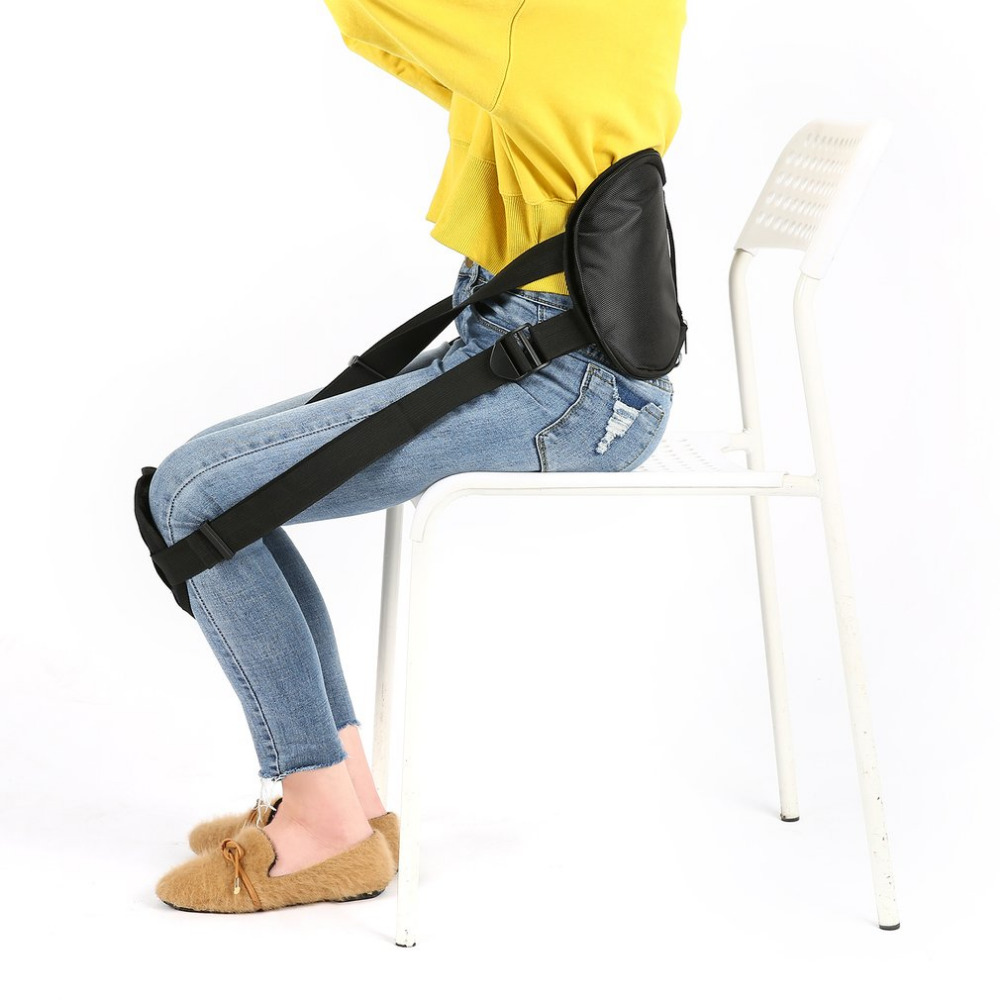 Adjustable Waist Protection with Knee Pad Sitting Posture Corrector Prevent Humpback Spine Braces Support Belt Pad Black