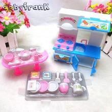 Abbyfrank Dolls Kitchen Toy Set 20Pcs Set Tableware Mini Simulation Cooker Dinnerware Stool House Accessory Dolls