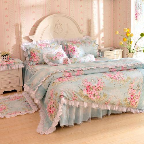 Korean pastoral lace bedding set 3 / 4pcs for girls twin