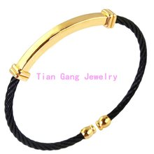 Fashion Women Mens Jewelry 316l Stainless Steel Twisted Chain Black Gold Cable Bracelets Bangles For Gift