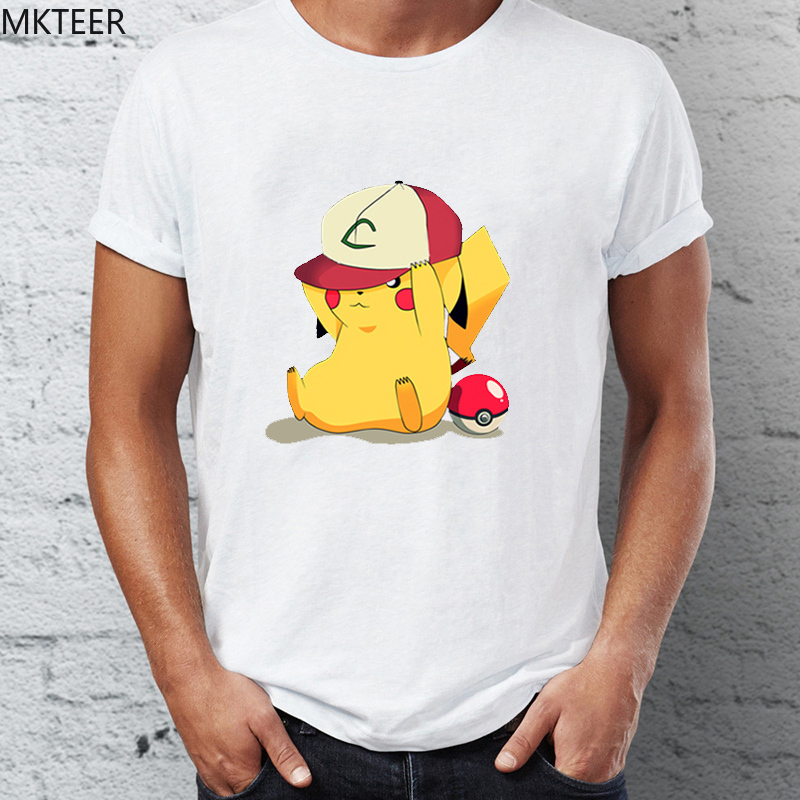 cheerful-pikachu-t-shirt-hat-playing-font-b-pokemon-b-font-unisex-t-shirt-summer-short-sleeved-men's-tshirt-funny-poleras-mujer-de-moda-2019