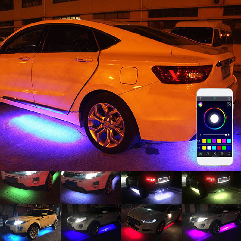 4pcs Car RGB LED Strip Light Under LED Strip Lights 7 Colors Tube Underbody System Neon Chassis Light Kit WIth Remote For Cruze