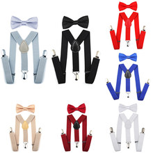 BBYES 7 Colors Kids Suspenders Y-Back Braces Set Boys Girls Suspender & Bow Tie Matching Set Tuxedo Wedding Party Shirt Suit(China)