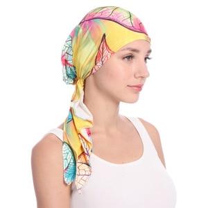 Image 4 - Мусульманские женщины хлопок Мягкий тюрбан с принтом шляпа раковая шапочка при химиотерапии капот шапки предварительно связанный шарф головной убор аксессуары для волос