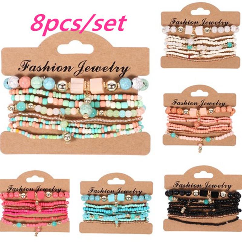 8pcs Woman Boho Multilayer Beads Charm Bracelets for Women Vintage Stone Crystal Bracelets & Bangles Pulseras Ethnic Jewelry(China)