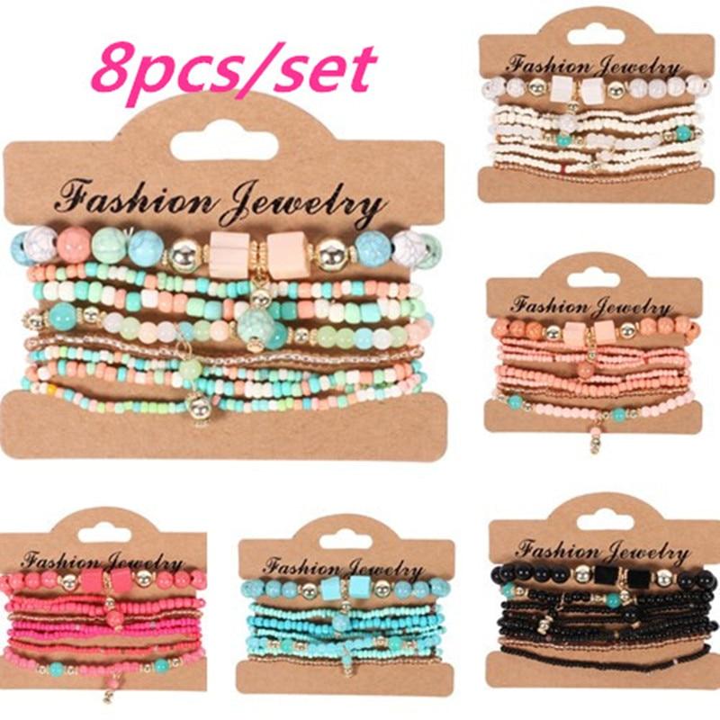 3-4pcs/set Fashion Multilayer Crystal Stone Beads Tassel Charms Bracelets & Bangles Pulseras Mujer Boho Bracelet for Women Gift(China)