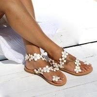 Vertvie/Женские винтажные сандалии; модные сандалии-гладиаторы с цветочным узором; большие размеры; пляжная обувь с открытым носком; Элегантна...