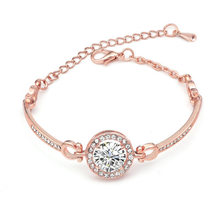 New Rose Gold Eight Hearts Eight Arrows Zircon Bracelet, Artificial Gem Alloy, Female Jewelry.(China)