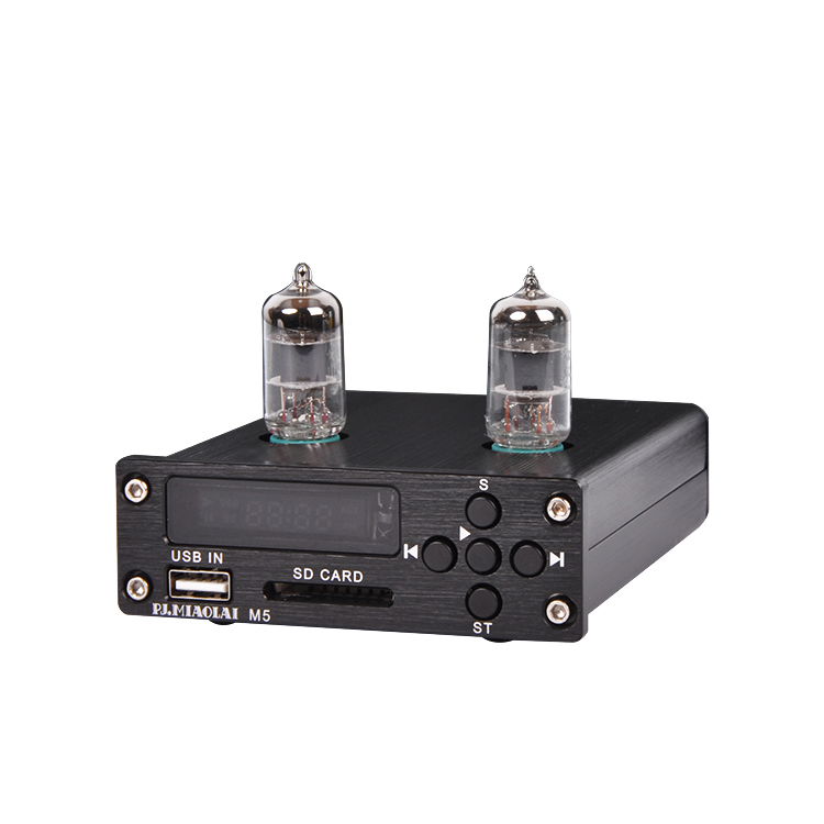 US $60 0 |M55 MP3 lossless music player uses classic 6J1 electron tube  preamplifier Circuit board Support USB SD play music For amplifier-in  Desktop