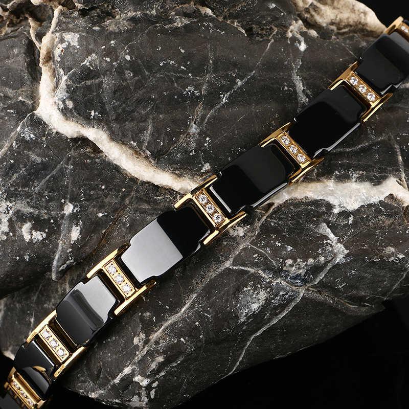 Luksusowe męskie złoty bransoletka zdrowia czarny ceramiczny Bio germanu magnetyczne bransoletki mężczyźni rąk Chain Link kryształ ze stali biżuteria