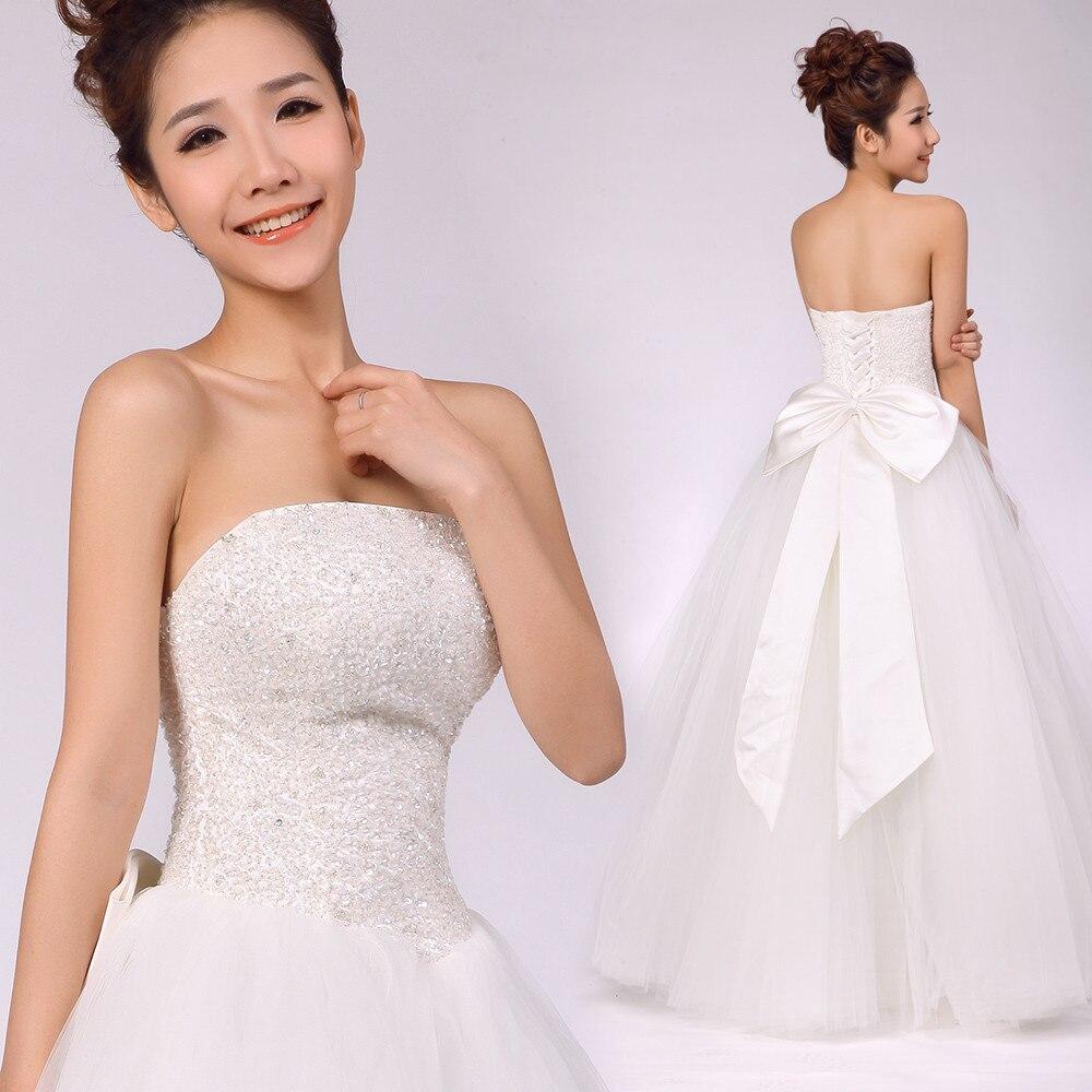 Free shipping XS/S/M/L/XL/XXL/XXXL Beads wedding dress bandage bow princess  wedding dress V20