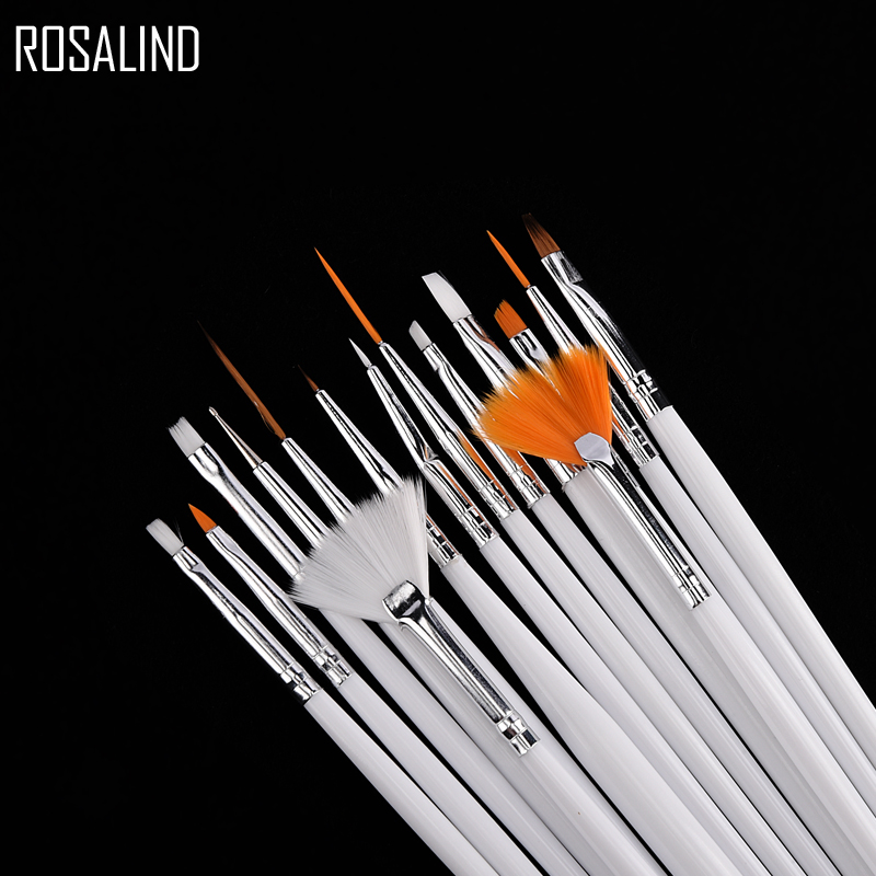 ROSALIND 15PCS/set  Nail Tools Nail Brush Dotting Painting Drawing Pen Nail Art Brush Gel Polish Brushes Tools Gel Painting Pen