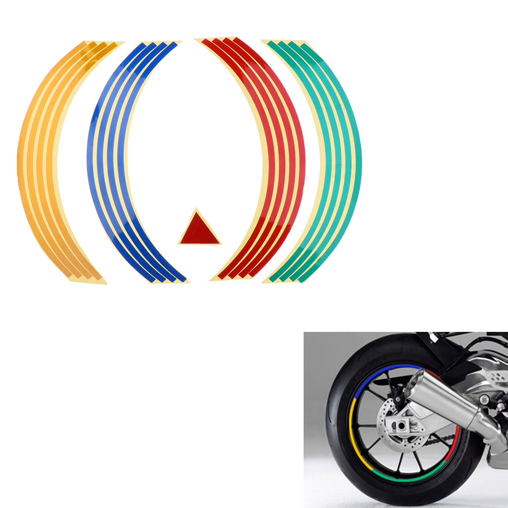 Motorcycle Rim Tape Reflective Wheel Stickers Decals Set Kit 17 Inch Rueda Pegatinas Reflectantes