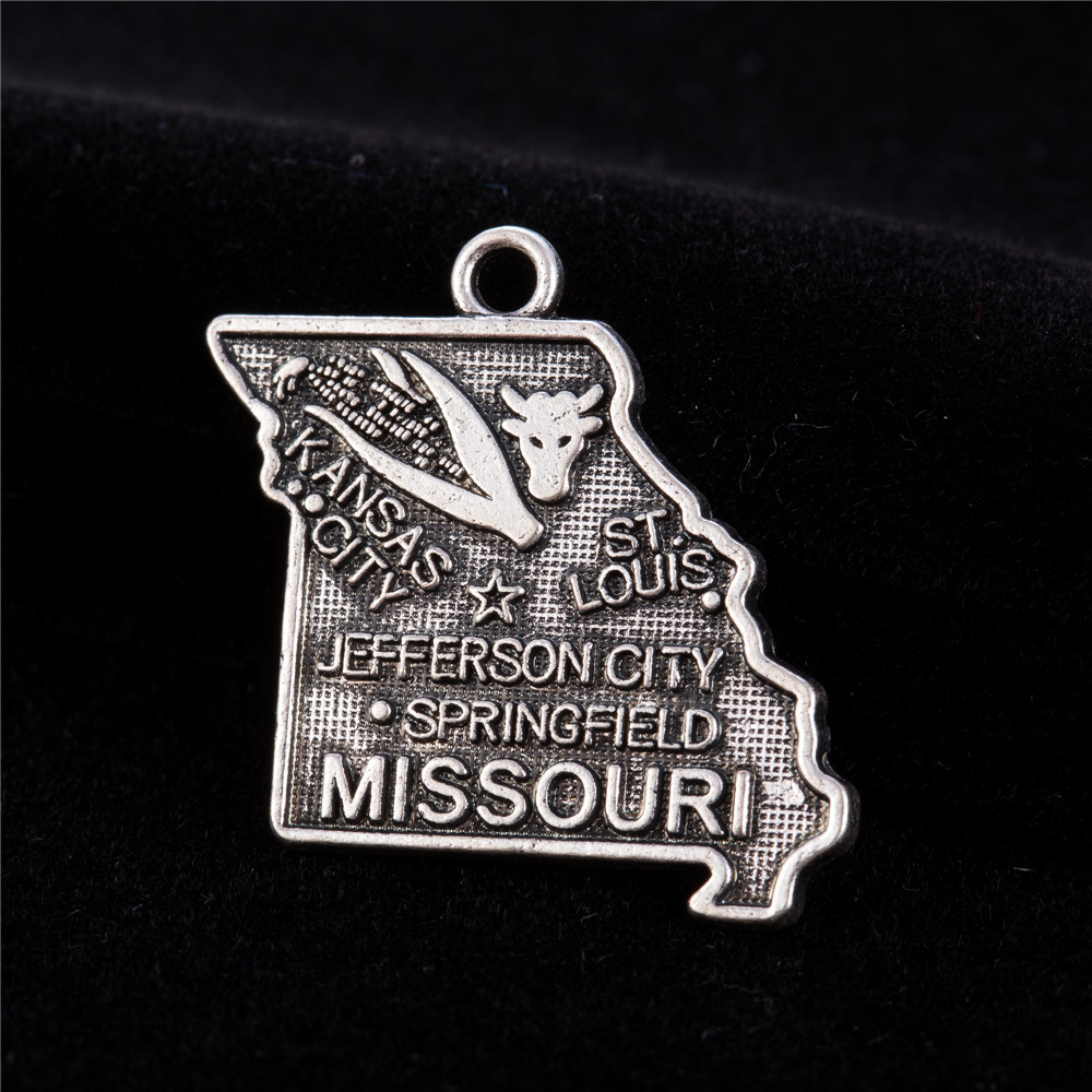 my shape Antique Charm Vintage Missouri State Map Travelling Pendant For Jewelry Making 40Pcs 22*23mm
