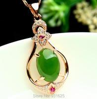 925 silver Gold Naturalny Zielony HeTian Yu Gem Inlay Dangle Hollow Naszyjnik + certyfikat Biżuteria dla kobiety