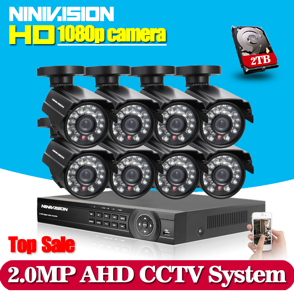 1080P 8CH CCTV Security System 8 channel HDMI AHD NVR DVR HD 2.0MP outdoor indoor Camera kit Video Surveillance System 2TB HDD hd 8ch cctv system 720p dvr 8pcs 720p 1200tvl ir outdoor video surveillance security camera system 8 channel dvr kit