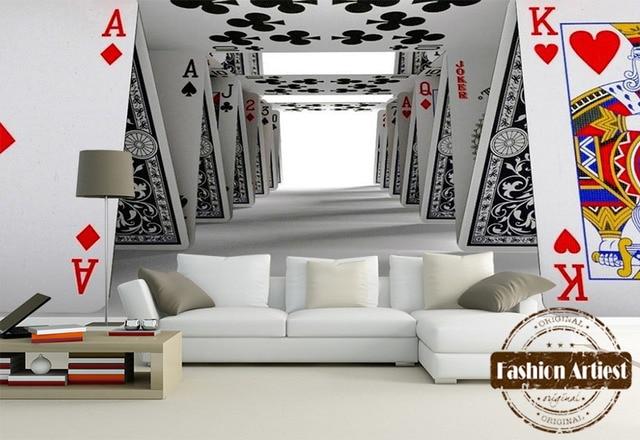 Custom modern 3d wallpaper mural poker domino wall art building tv ...