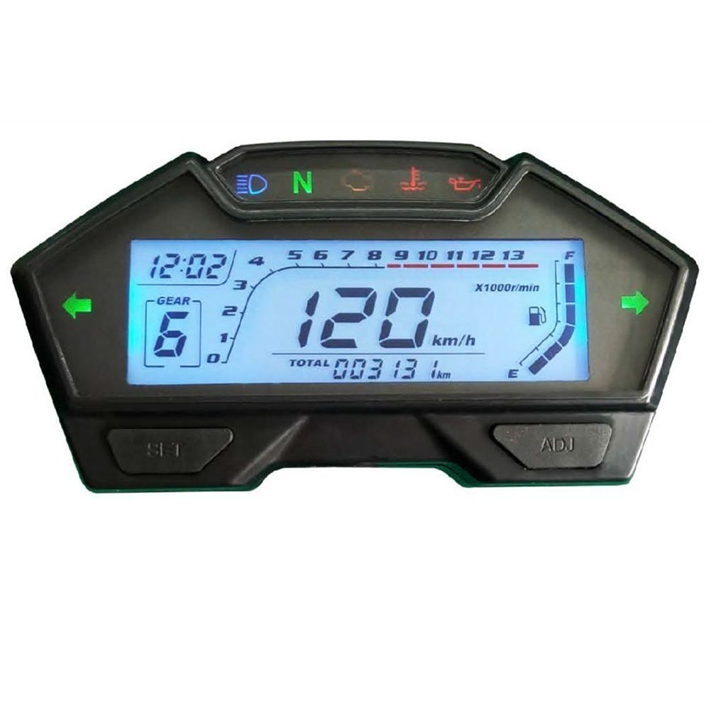 Samdo Universal LCD Motorcycle Speedometer Odometer RPM Speed Fuel Gauge 199 Kph Mph DIY Speedometer