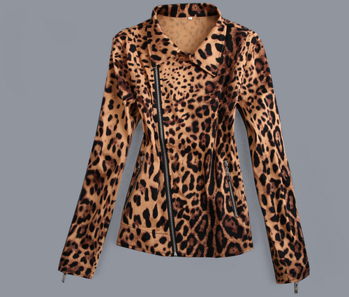 Free shipping cropped women coats leopard print vintage design rock metal hippie jackets womens plus size roupas high fashion