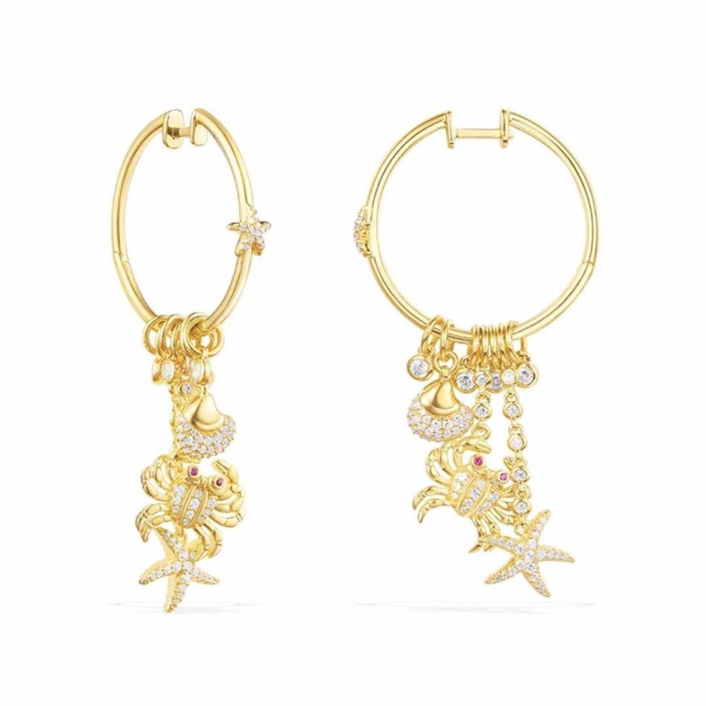 ZOZIRI monaco france brand Sea Creatures earrings for women sterling silver zircon sea crab shell fish starfish charms earring галстук мужской stilmark цвет темно синий 1278918 3 размер универсальный