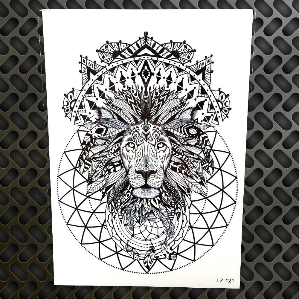 Black Henna Indian Tribal Lion King Waterproof Tattoo Stickers Men Women Body Art Arm Legs Fake Temporary Tattoo Totem Armband line art