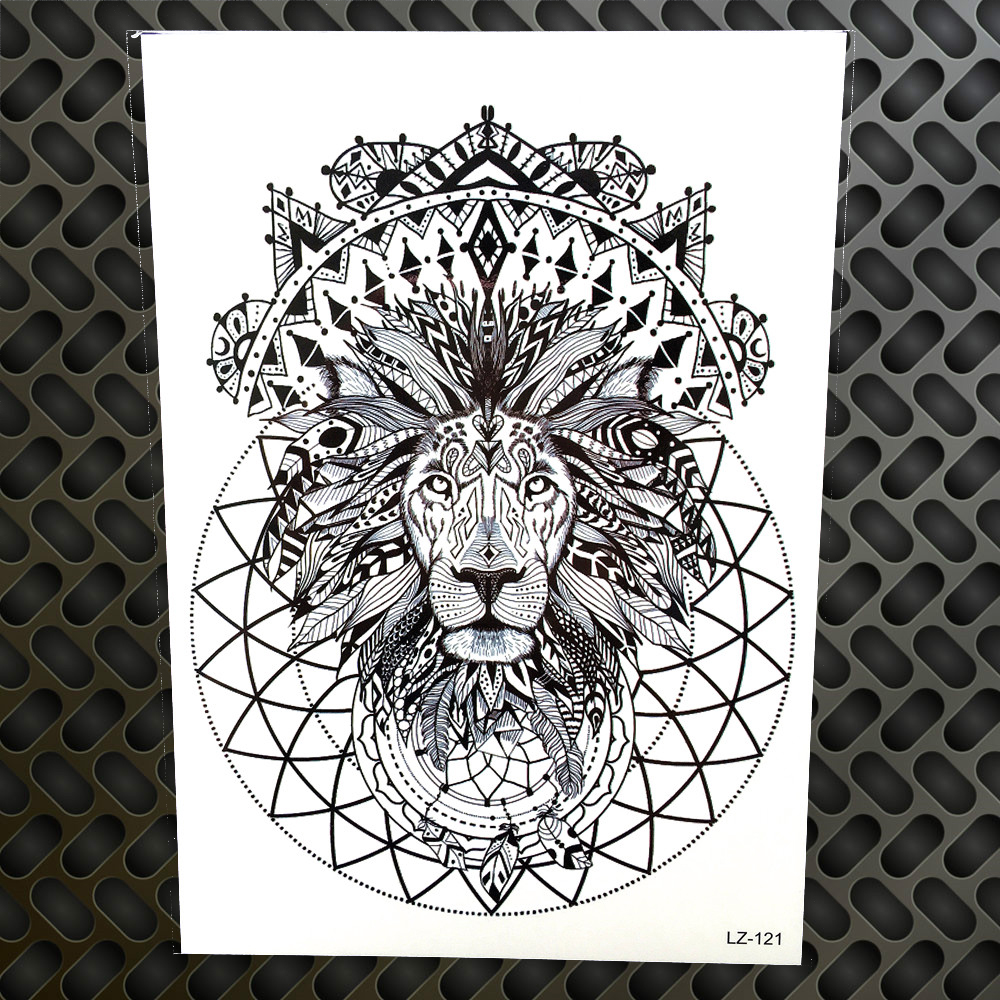 Black Henna Indian Tribal Lion King Waterproof Tattoo Stickers Men Women Body Art Arm Legs Fake Temporary Tattoo Totem Armband