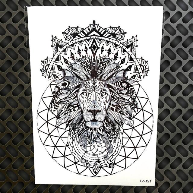 Czarny Król Lew Wodoodporna Naklejki Tatuaż Henną Indian Tribal