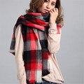 190*70 CM Winter Plaid New Designer Blanket Unisex Grey Wrap Cashmere Scarf Autumn Grid Woman Pashmina Scarf For Fall Warm J050