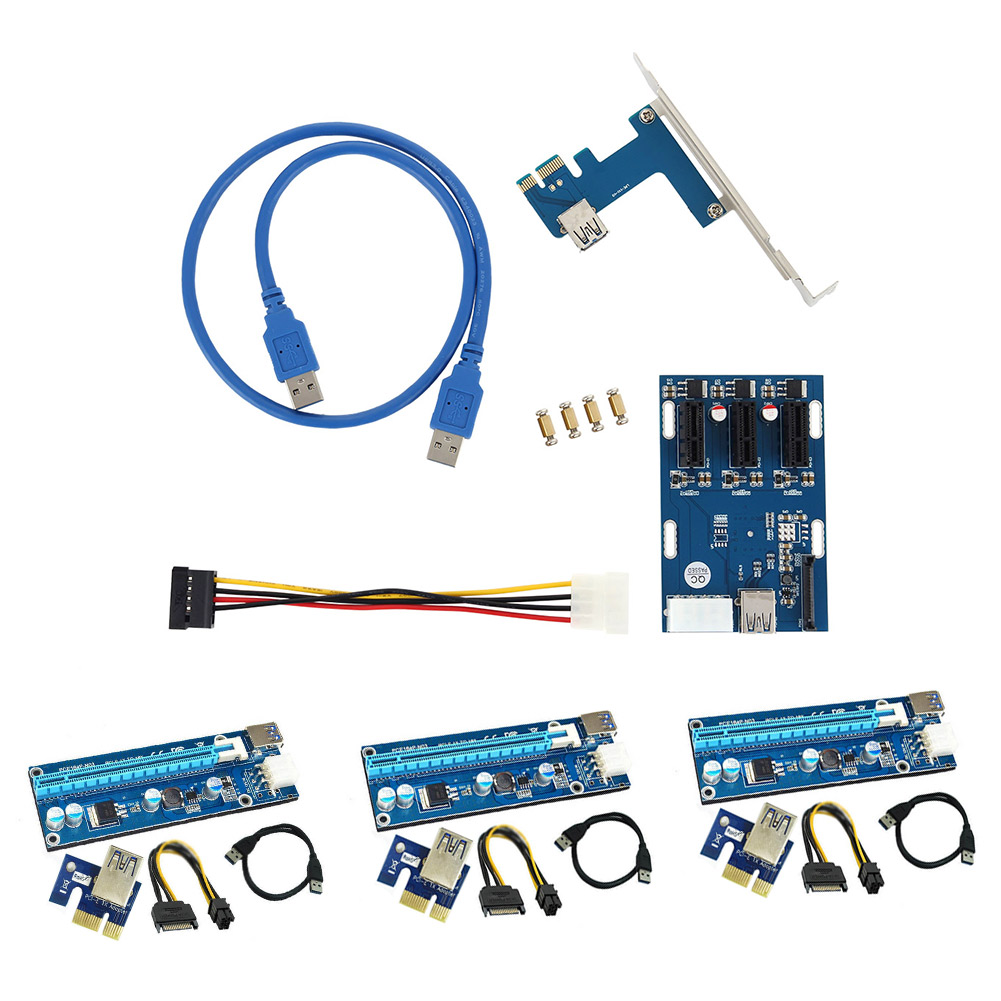 3 Set USB3.0 PCI-E Express Extender Riser Card Adapter Power Cable Kit + 1 Set PCI-E to PCIe Hub Riser Card QJY99 centechia 50cm pci express pci e 1x to 16x riser card extender pcie adapter usb 3 0 cable