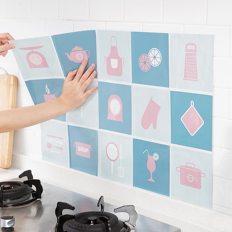 Aluminum foil kitchen high temperature anti-fume sticker wall oil stickers 45*75