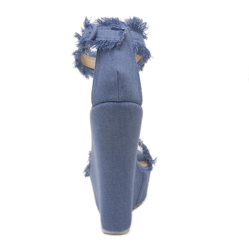Haut forme Cowboy Plate Étanche Bleu 1 Fringe Nouveau Wedge Talon 2018 Sandales qBzt5xw