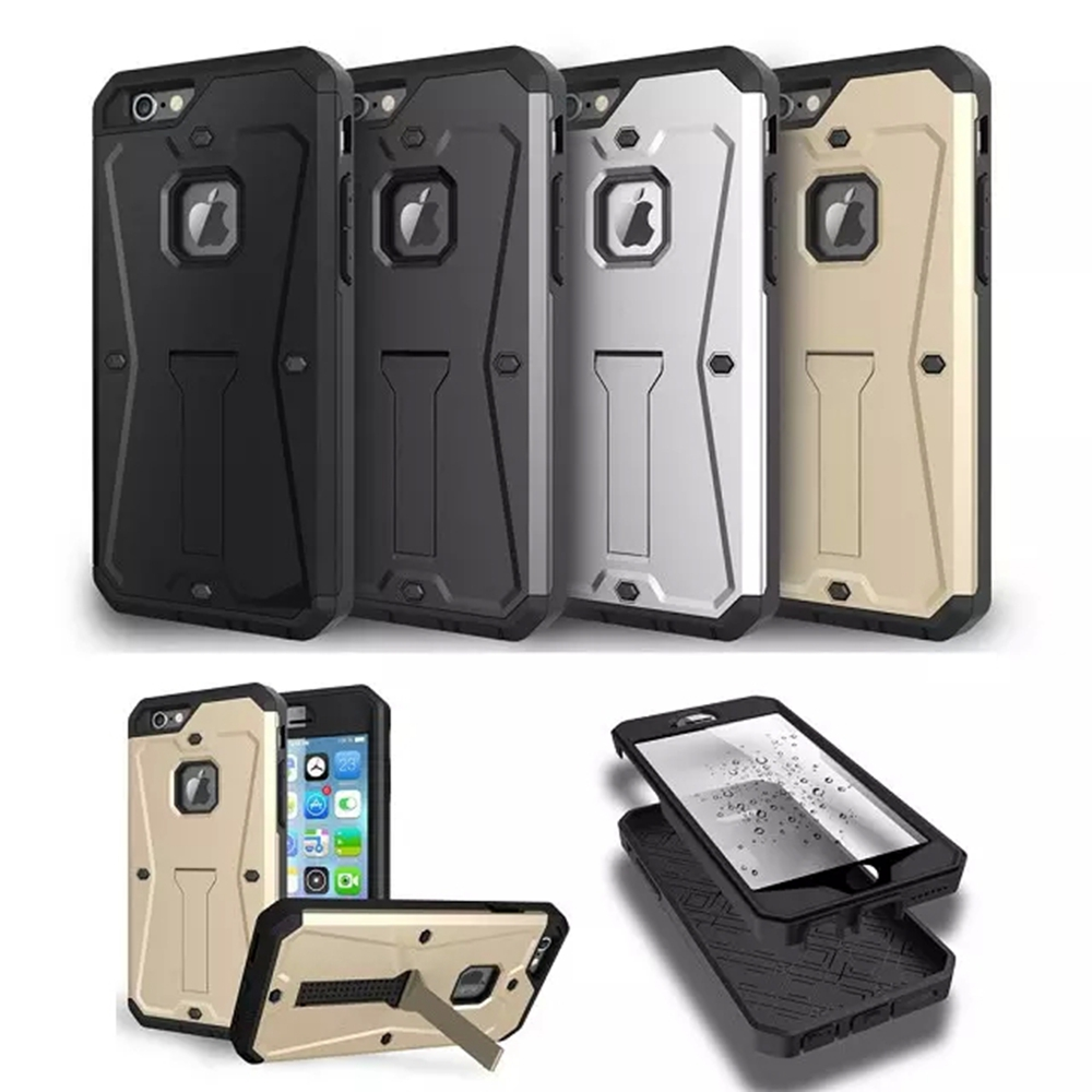 Newest Shockproof 3 in 1 Hard Plastic + Silicone Hybird Case For Iphone 6 4.7 / Iphone 6 Plus 5.5 PC Stand Case Full Body Cover