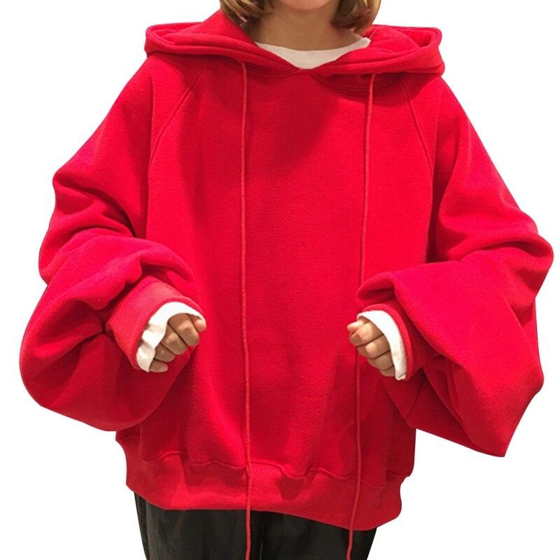 2018 Women Hoodies Sweatshirt Women Long Sleeve Pure Red Black Hoodie Sweatshirt Jumper Hooded Pullover Tops Sudaderas Mujer