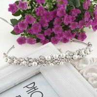 BELLA Moda Nupcial Elegante Simple Pedazo de Cabello Diadema Corona de La Tiara Marfil Perlas Simuladas Joyería Partido de Las Mujeres de La Venda de Boda