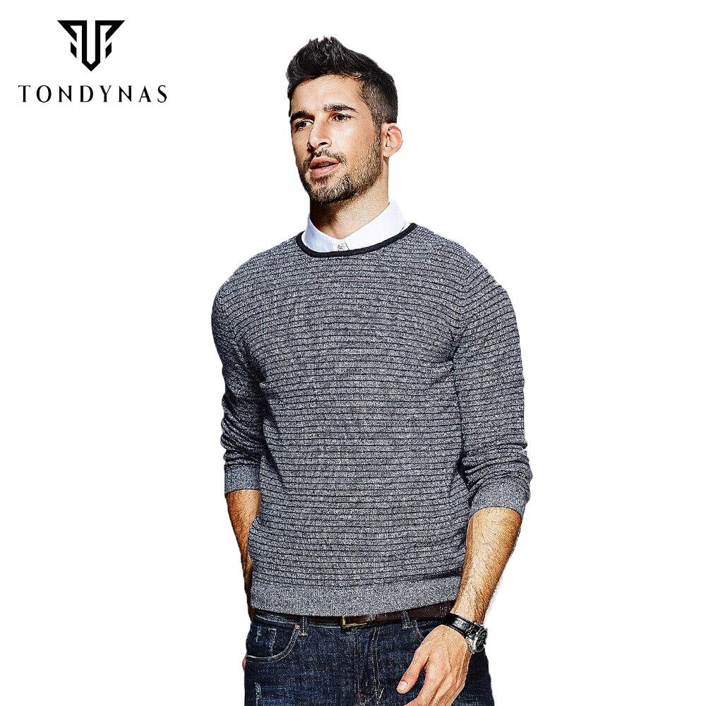 Tondynas Новое поступление свитер в полоску длинные рукава для мужчин 6636|new arrival