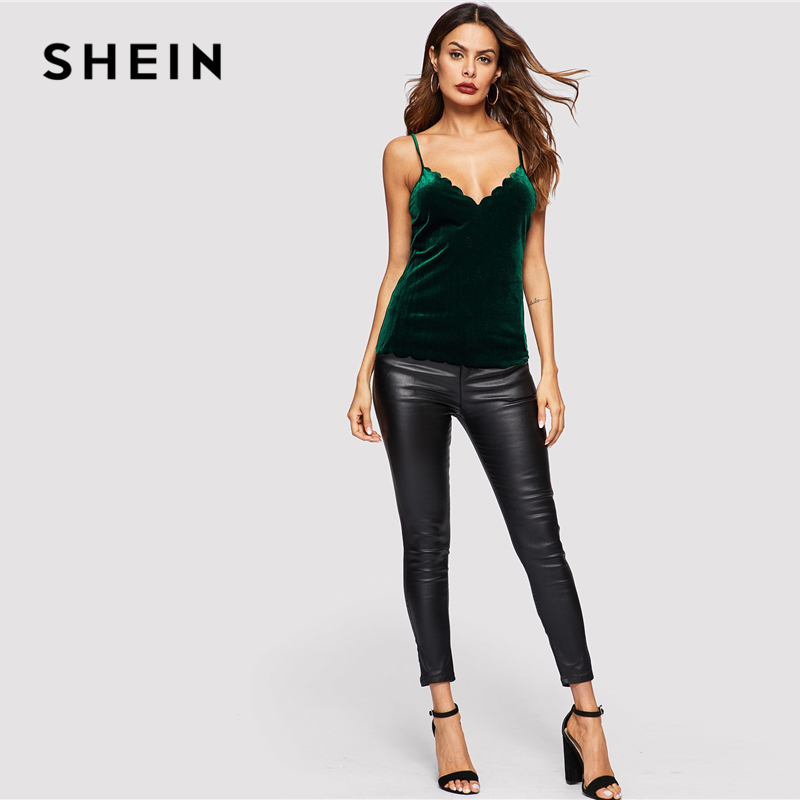 9f4cf231fc SHEIN Sexy Green Cross Criss Hem Velvet Crop Slim Fit Plain Top Women  Autumn Casual Night Out Stretchy Modern ...