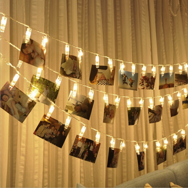 1.5/3/6M Photo Clip Holder LED String Lights Battery Powered Holiday Fairy Lights For Christmas New Year Wedding Room Decoration