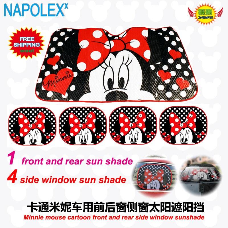 Accessories Cartoon Minnie Mouse Front Side Window Sunshade Foils Windshield Visor Cover UV Protect Car Window Film Sun Shade