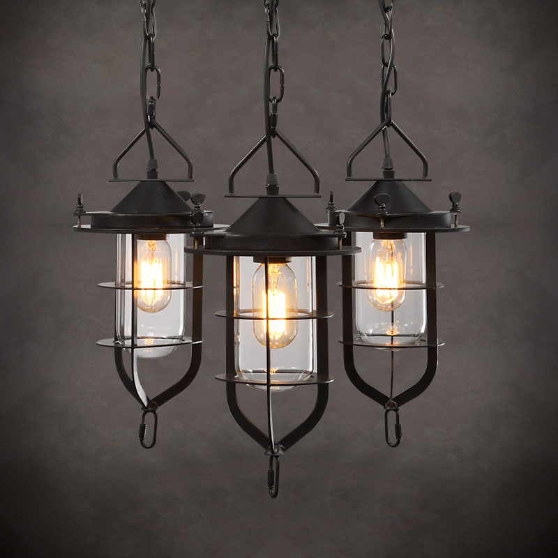 American Iron metal Rustic Style Loft Industrial Pendant Lamp With 3 Lights Fixtures Retro Vintage Light Lamparas Colgantes america country led pendant light fixtures in style loft industrial lamp for bar balcony handlampen lamparas colgantes